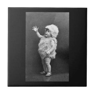 Vintage Chicken Suit Girl Easter Costume Ceramic Tile