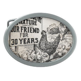 Vintage Chickens Advertisement Belt Buckles