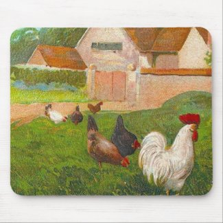Vintage Chickens And Home mousepad