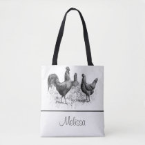 Vintage Chickens and Rooster   Personalized Tote Bag