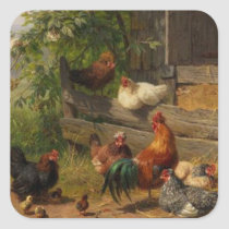 Vintage chickens and rooster sticker