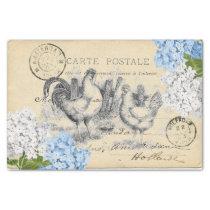 Vintage Chickens Blue Flower Postcard Tissue Paper