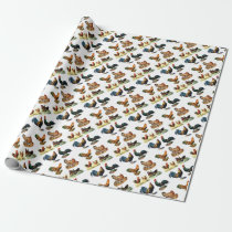 vintage chickens design wrapping paper