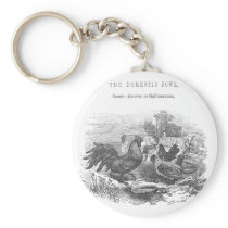 Vintage Chickens Pen and Ink Illustration Keychain