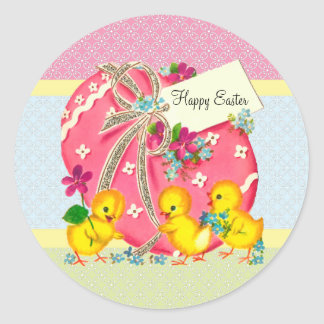 Vintage Chicks and Pink Easter Egg Custom Message Classic Round Sticker