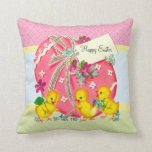 Vintage Chicks and Pink Easter Egg Custom Message Throw Pillow