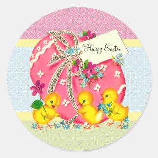 Vintage Chicks and Pink Easter Egg Custom Message Round Sticker