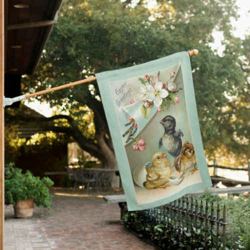 Vintage Chicks, Easter Eggs and Wild Roses House Flag
