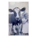 Vintage Child and Cow Print