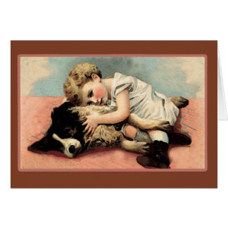 Vintage Child and Dog Image Note Cards