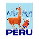 Vintage Child and Llama Peru Travel Poster Postcard