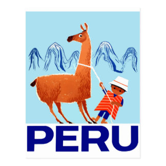 Vintage Child and Llama Peru Travel Poster Postcard