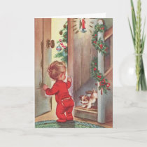Vintage Child and Puppy Christmas Themed Holiday Card