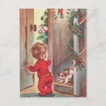 Vintage Child and Puppy Christmas Themed Holiday Postcard