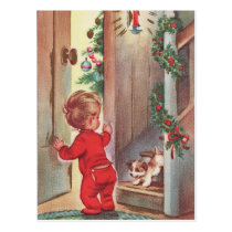 Vintage Child and Puppy Christmas Themed Postcard