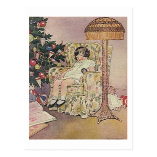 Vintage Child and Tree Christmas Card Postcards