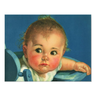 Vintage Child Baby Boy or Girl Birthday Party Card