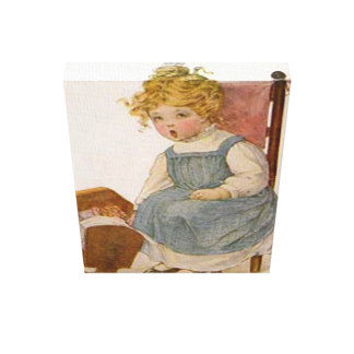 Vintage Child Baby Doll Small Stretched Canvas