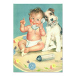Vintage Child Birthday Party, Puppy Dog Telephone Personalized Announcements