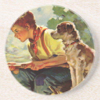 Vintage Child, Boy Fishing with His Pet Dog Mutt Coaster