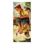 Vintage Child, Boy Fishing with His Pet Dog Mutt Custom Invitation