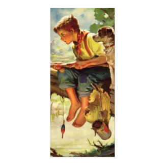 Vintage Child, Boy Fishing with His Pet Dog Mutt 4x9.25 Paper Invitation Card