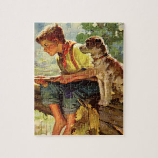 Vintage Child, Boy Fishing with His Pet Dog Mutt Jigsaw Puzzle