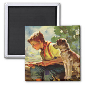 Vintage Child, Boy Fishing with His Pet Dog Mutt Magnet
