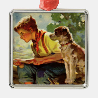 Vintage Child, Boy Fishing with His Pet Dog Mutt Metal Ornament