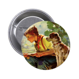 Vintage Child, Boy Fishing with His Pet Dog Mutt Pinback Button
