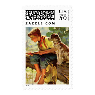 Vintage Child, Boy Fishing with His Pet Dog Mutt Postage
