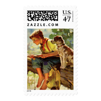 Vintage Child, Boy Fishing with His Pet Dog Mutt Postage Stamp