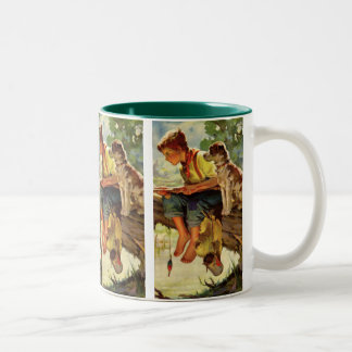 Vintage Child, Boy Fishing with His Pet Dog Mutt Two-Tone Coffee Mug
