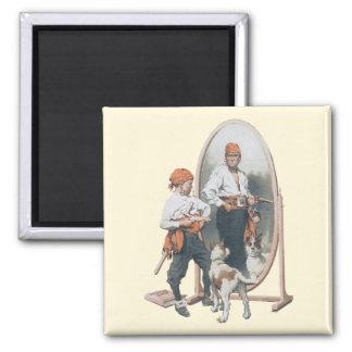 Vintage Child, Boy Pirate, Dog, Mirror, Buccaneer Fridge Magnets