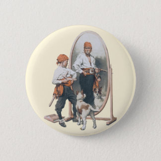 Vintage Child, Boy Pirate, Dog, Mirror, Buccaneer Pinback Button