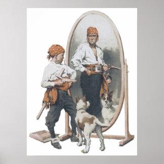 Vintage Child, Boy Pirate, Dog, Mirror, Buccaneer Poster