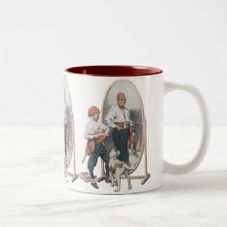 Vintage Child, Boy Pirate, Dog, Mirror, Buccaneer Two-Tone Coffee Mug