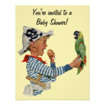 Vintage Child, Boy Pirate Parrot Bird, Baby Shower Custom Invitations