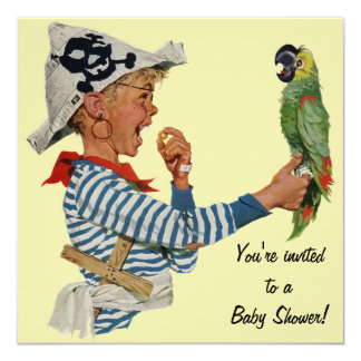 Vintage Child, Boy Pirate Parrot Bird, Baby Shower 5.25x5.25 Square Paper Invitation Card