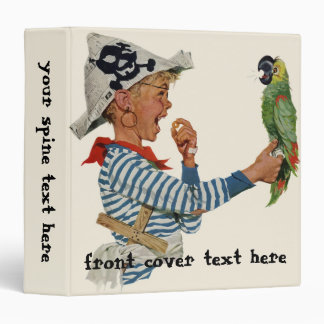 Vintage Child, Boy Playing Pirate Parrot Bird Binder