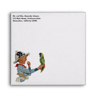 Vintage Child, Boy Playing Pirate Parrot Bird Envelope