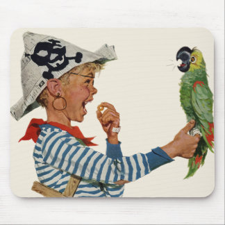 Vintage Child, Boy Playing Pirate Parrot Bird Mouse Pad