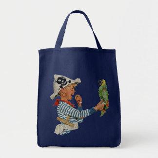 Vintage Child, Boy Playing Pirate Parrot Bird Tote Bag