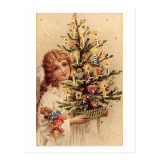 Vintage Child Carrying Tree Card Post Cards
