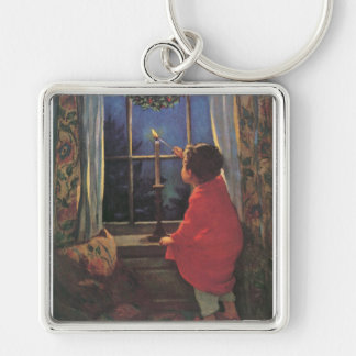 Vintage Child, Christmas Eve, Jessie Willcox Smith Silver-Colored Square Keychain