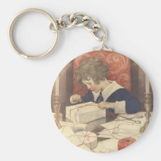 Vintage Child, Christmas Eve, Jessie Willcox Smith Basic Round Button Keychain