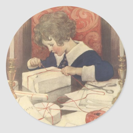 Vintage Child, Christmas Eve, Jessie Willcox Smith Sticker