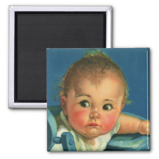Vintage Child, Cute Baby Boy or Girl in Highchair Magnet
