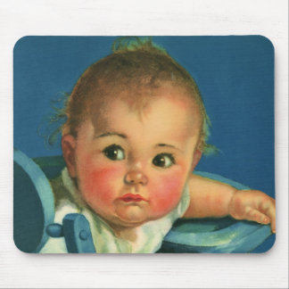 Vintage Child, Cute Baby Boy or Girl in Highchair Mouse Pad