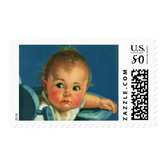 Vintage Child, Cute Baby Boy or Girl in Highchair Postage